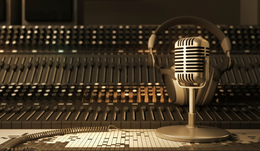 Microphone in the sound studio